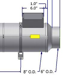 engineered drawing of flowtorch air heater with thermocouple